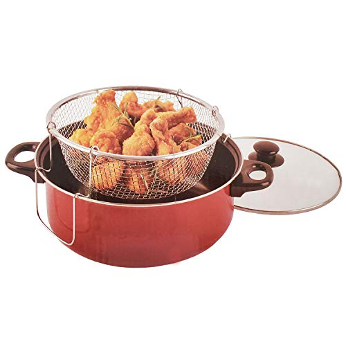 Lavo Home 3 Piece Charcoal Gray Deep Fryer Set With 4 Quart Non-Stick Ceramic Coated Pot, Stainless Steel Fryer Basket & Lid - Cool Touch Handle
