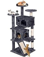 Yaheetech Rascador para Gatos de 137 cm Árbol para Gatos Castillo Juego de Gato Gatitos Mascotas, Bolas de Juego, con Plataforma Nidos, Gris Oscuro