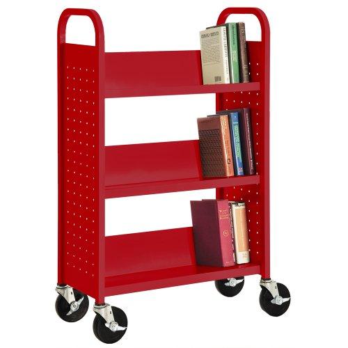 Sandusky SL327-01 Red Heavy Duty Welded Steel Single Sided Sloped Shelf Book Truck, 3 Shelves, 200 lb. Capacity, 46' Height x 28' Width x 14' Depth