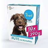 Mr. Fred- Hundefutter nass | Super Premium Nassfutter für Hunde | 10 x 390 g | Lebensmittelqualität | Pute mit Kartoffeln | wiederverschließbar und nachhaltig verpackt