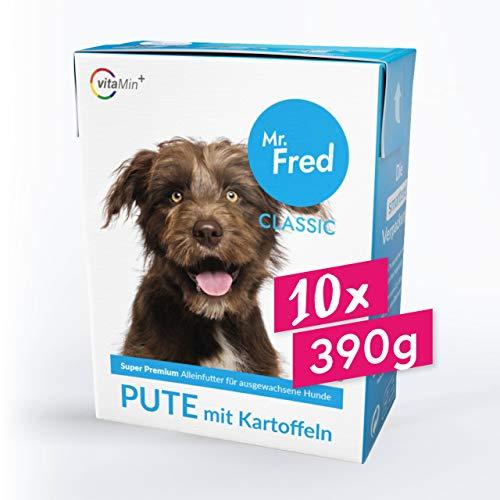 Mr. Fred- Hundefutter nass | Super Premium Nassfutter für Hunde | 10 x 390g | Lebensmittelqualität | Pute mit Kartoffeln | wiederverschließbar