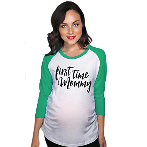 Crazy Dog Tshirts - Maternity Raglan First Time Mommy Cute Mothers Day Baseball Tee (Green) - L - Femme
