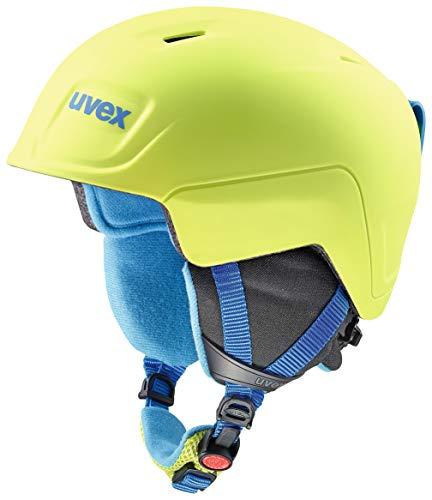 Uvex Manic pro Skihelm voor kinderen, lime-blauw met mat, 46-50 cm