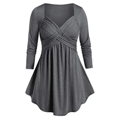 Lazzboy Frauen Plus Size Schatz Kragen Raum Tunika Flare T-Shirt Tops Damen Langarmshirt Oberteile Herbst Tshirt Bluse(Grau,4XL)