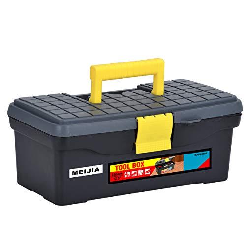 """MEIJIA Caja de almacenamiento de herramientas portátil, organizadores con pestillos plegables y bandeja extraíble, negro clásico con amarillo, 12.6""""x7.08""""x5.12"""""""