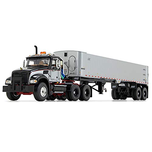 First Gear 1/50 Scale Diecast Collectible Black/Red/Silver Mack Granite MP and East Genesis End Dump Trailer (50-3456)