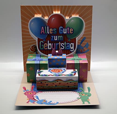 UNIQARD® Kartka urodzinowa 3D – Popup Kartka 3D – Niezwykłe kartki z pozdrowieniami na urodziny – pomysł na prezent, idealna na bony i prezenty pieniężne – dla dzieci i dorosłych HBK