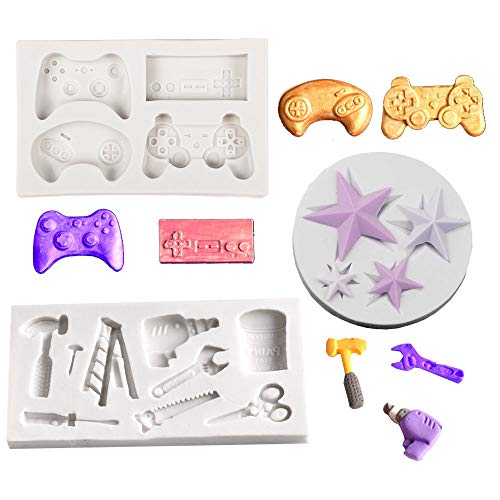 Daimay - 3 piezas de silicona para decoración de tartas de boda, chocolate, chocolate, chocolate, pastel, herramientas mecánicas, mango de herramientas – Gris