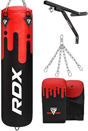 RDX Boxsack Set UNGEFÜLLT Kickboxen Muay Thai MMA Boxen mit wandhalterung Stahlkette Training Handschuhe Kampfsport Schwer Punchingsack Gewicht 4FT 5FT 4PC Punching Bag (MEHRWEG)