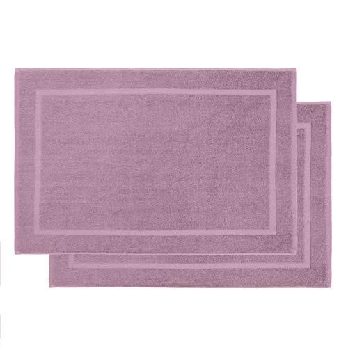 Lumaland 2er Set Premium Baumwoll Badematte Frottee 50 x 80 cm aus 100% Baumwolle 800 g/m² rutschfest waschbar Lavendel