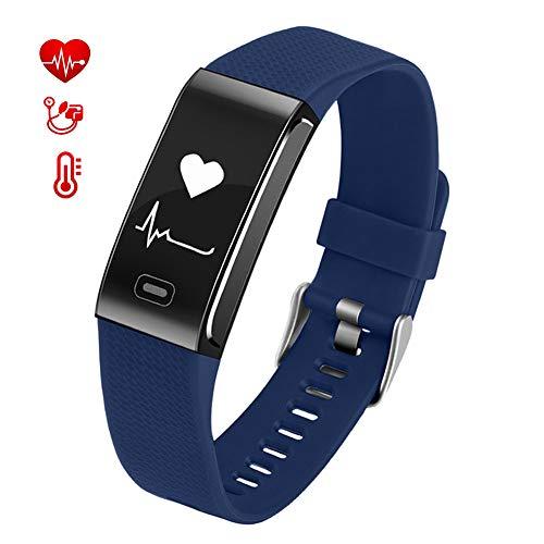 KELEQI Fitness Smart Armband, 0,96 Zoll Herzfrequenz Blutdrucküberwachung EKG Kalorien Schrittzähler Fernwartung, ABS + PC Gurt, für Männer und Frauen x,Blau