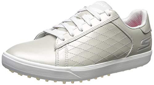 Skechers GO Golf Drive Shine Zapatos de Golf para Mujer (39 EU, Plateado)