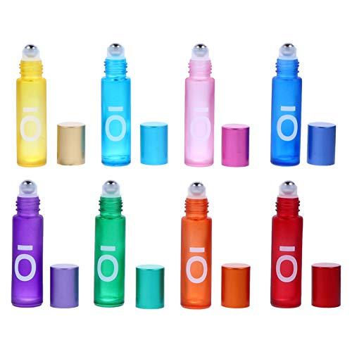 HEALLILY 8 Unidades 10Ml Roll on Botellas de Vidrio Botellas Vacías con Bola de Rodillo para Aceites Esenciales Perfume Aromaterapia (Color Mixto)