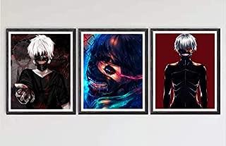 Original Manga Anime Tokyo Ghoul Digital Canvas Art Print,8 x 10 Inches,No Frame,Set of 3