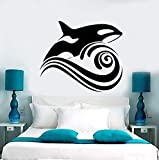 xinyouzhihi Vinilo Tatuajes de Pared Whale Wave Sea Ocean Style Etiqueta de la Pared extraíble Home Bathroom Decor Sea Animal Design Art Mural Decor 57x49cm
