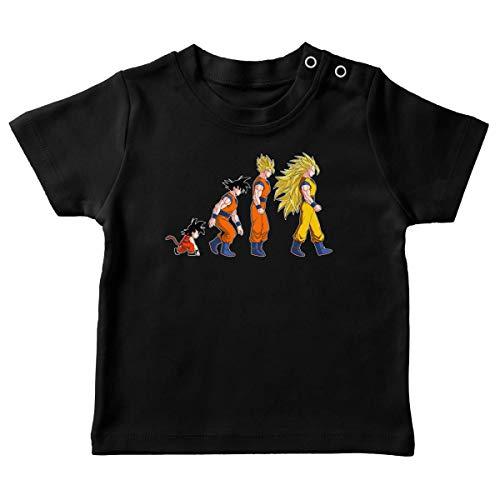 Okiwoki T-Shirt bébé Noir Parodie Dragon Ball Z - DBZ - Sangoku Super Saiyajin - La Théorie de l'évolution : (T-Shirt de qualité Premium de Taille 18 Mois - imprimé en France)