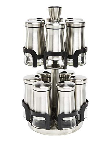 Zuvo Premium 12 Gläser drehbar Kräutertöpfe Gewürz- und Kräuterregal und Organizer Gewürzregal aus Glas und Edelstahl Edelstahl Chrom