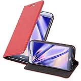 Cadorabo Hülle für LG X CAM - Hülle in Apfel ROT – Handyhülle mit Magnetverschluss, Standfunktion & Kartenfach - Hülle Cover Schutzhülle Etui Tasche Book Klapp Style