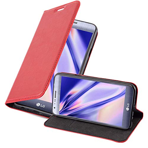 Cadorabo Hülle für LG X CAM in Apfel ROT - Handyhülle mit Magnetverschluss, Standfunktion & Kartenfach - Hülle Cover Schutzhülle Etui Tasche Book Klapp Style