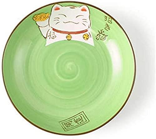 XQMY Dibujos Animados Pintados a Mano creativos Estilo japonés y Coreano Lucky Cat Bowl Vajilla Juego de Cubiertos Disco de cerámica Plato Profundo Verde 6 Pulgadas
