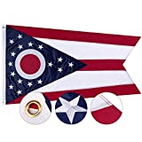 FLAGBURG Ohio State Flag 3x5 ft, OH Flag 5x3ft, The Buckeye State Flag with Heavy Duty Embroidered Stars Outdoor Indoor All Weather 210D Nylon Burgee Flag with Strong Canvas Header/Brass Grommets