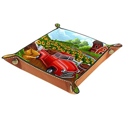 AITAI Bandeja de valet de cuero vegano organizador de mesita de noche placa de almacenamiento para coche en la granja