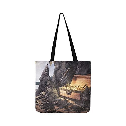 Öffnen Sie Schatztruhe Shinny Gold Canvas Tote Handtasche Schultertasche Crossbody Taschen Geldbörsen für Männer und Frauen Einkaufstasche