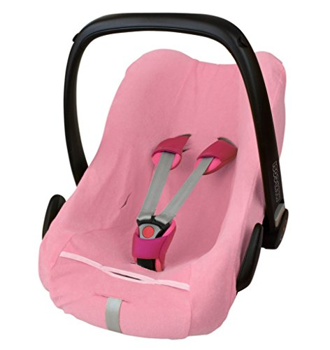 ByBoom - Funda de verano/funda hecha de tela de toalla, funda universal para portabebés (Moisés), asiento de coche, por ejemplo, Maxi-Cosi CabrioFix, Pebble, City SPS, Color:Rosa