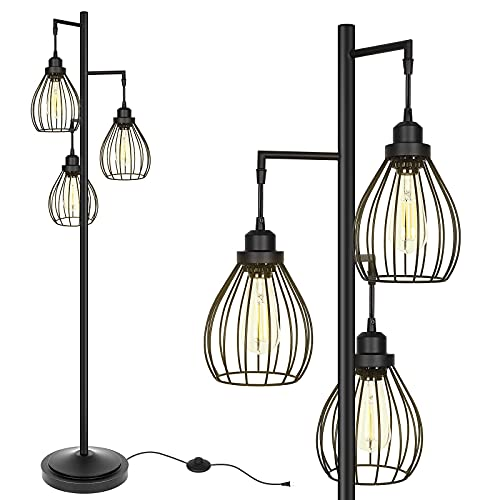 Hykolity Industrial Teardrop Cage Floor Lamp, Farmhouse Rustic Standing Lamp for Living Room, Bedroom, Guest Room, Office, Standing Tree Lamp with 3 Elegant Cage Heads, Bulb Sold Separately