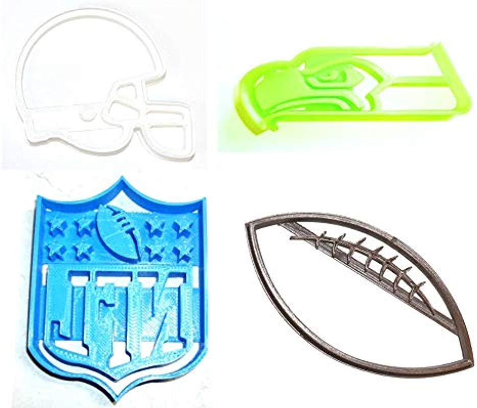 SEATTLE SEAHAWKS NFL FOOTBALL LOGO HELMET SET OF 4 SPECIAL OCCASION COOKIE CUTTERS BAKING TOOL 3D PRINTED MADE IN USA PR1132