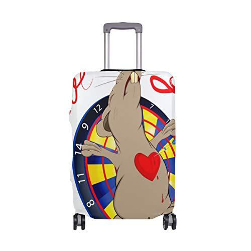 Moyyo Rat Love and Darts Travel Luggage Cover Suitcase Protector Cover Elastic Washable Suitcase Cover Fits 29-32 inch Luggage