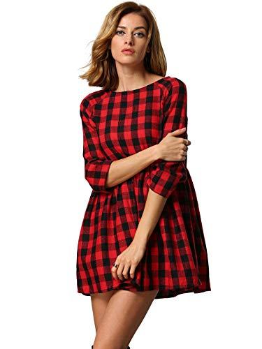 SOLY HUX Vestido Cuello Redondo Cuadros -Rojo Negro, L