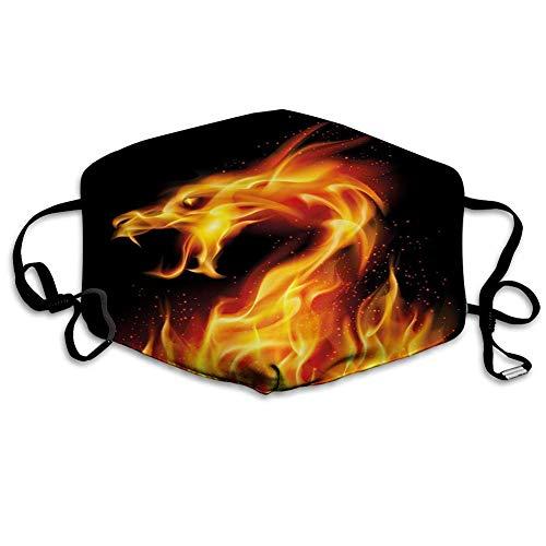 Bequeme Winddichte Maske, Drache, abstrakte feurige Kreatur auf schwarzer Hintergrundillustration, Schwarzorange