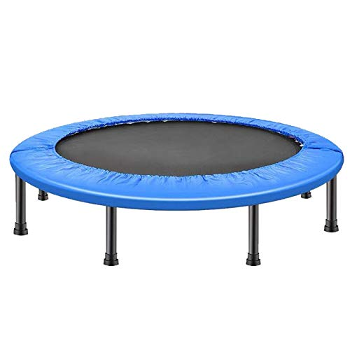Mini Trampoline,40'' Portable Fitness Trampolines, Foldable Mini Trampoline for Adults and Kids with Safety & Anti-Skid Pads Exercise Rebounder, Max Load 330lbs (Color : Blue)