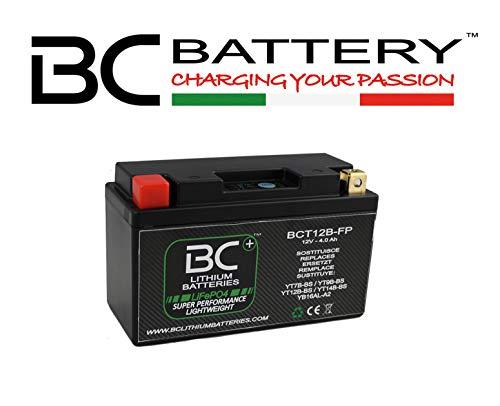 BC Lithium Batteries BCT12B Batteria Moto Litio LiFePO4, Nero, 1