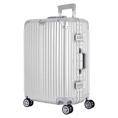 SAHASAHA スーツケース キャリーケース キャリーバッグ ファスナー式 アルミフレーム式 安心保証 機内持ち込みサイズから 傷が目立ちにくい TSAロック ハードキャリー ジッパー 人気色 全サイズ 有り (シルバー アルミフレーム, Mサイズ(5-