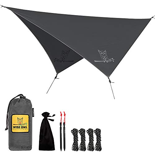Wise Owl Outfitters Rain Fly Tarp – The WiseFly Premium 11 x 9 ft Waterproof Camping Shelter Canopy – Lightweight Easy Setup for Hammock or Tent Camp Gear – Grey LITE