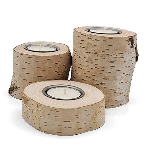 Teelichthalter   3er Set   unterschiedliche höhe   Birkenstamm Deko   Kerzenhalter aus Birken-Holz