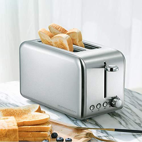 Automatik Toaster 2 Scheiben Toaster Aus Edelstahl 770W Toaster, Breit Schlitz, 6 Bräunungsstufen, Brotzentrierung, Krümelschublade, Auftau, Aufwärm Stopp Funktion Integrierter Brötchenaufsatz