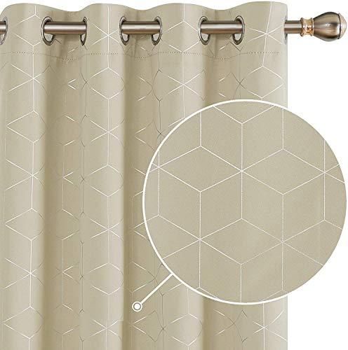 Deconovo Vorhang VerdunkelungBlickdicht Thermo Vorhänge Ösen 175x140 cm Beige 2er Set