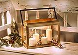 "Dekoleidenschaft Laterne ""Kiste"" aus Holz & Metall & Glas, Kerzenhalter, Kerzenständer"