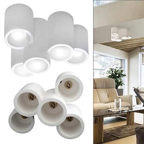 Lampada soffitto moderna gesso verniciabile plafoniera 5 luci LED 40W GU10 230V