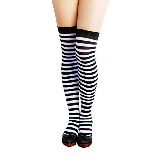 Oblique-Unique® Sexy Strumpfhose -halterlos- Overknee Strümpfe - Party Kostüm Fasching Karneval (Overknee Ringel Weiss/schwarz)