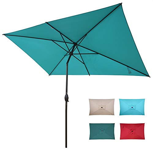 Abba Patio 6.5 x 10ft Rectangular Patio Umbrella Outdoor Market Table Umbrella with Push Button Tilt and Crank for Garden, Lawn, Deck, Backyard & Pool, Turquoise