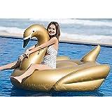SHSM Golden Swan Fila Flotante, Gigante Inflable Io Piscina de Lujo Flotante Piscina de Lujo Salón, Divertido Verano Playa Flotante Juguetes Filas de Cojines de Aire Tumbonas Unise