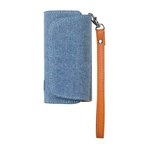 DrafTor E Zigarette Tasche, Mikrofaser PU Leder Zigarettenetui für I-Q-O-S 3.0 mit mit Magnetische Abdeckung und Lanyard (nur Geldbörse) (Hellblau)