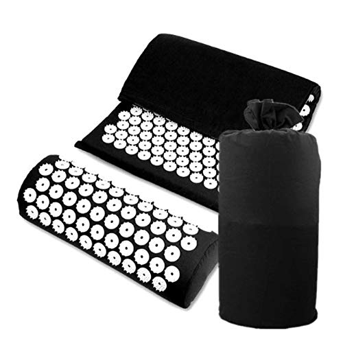 Blue Yoga Lotus Spike Acupressure Mat Pillow Set Acupressure Massage Cushion Mat Relieves Stress Pain Body Massager with Carry Bag