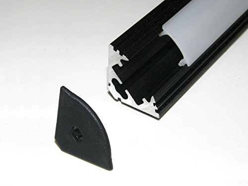 5 x 1 metro Perfil de aluminio para tiras LED, anodizado negro, con cubierta/difusor OPAL (material : PMMA) y tapas finales, p3