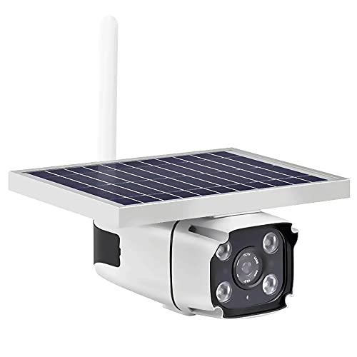 Con Panel Solar Cámara Vigilancia Exterior WiFi Con Batería, 1080P, 4 Unidades, Con Cámara WiFi Con Visión Nocturna, Detección De Movimiento,2 Vías De Audio (Memory card : 128GB)