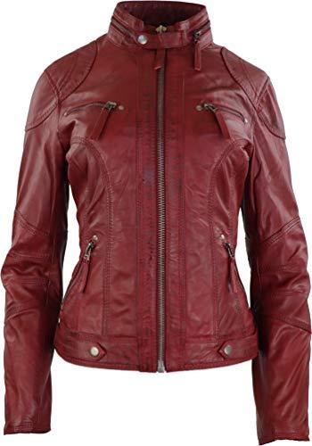 RICANO Derby Damen Lederjacke aus Lamm Nappa Echtleder (Rot, XL)
